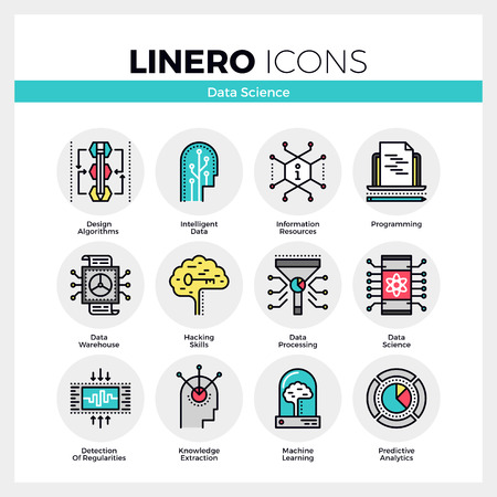 Line icons set of intelligent data science, machine learning. Modern color flat design linear pictogram collection. Outline vector concept of mono stroke symbol pack. Premium quality web graphics material. Ilustração