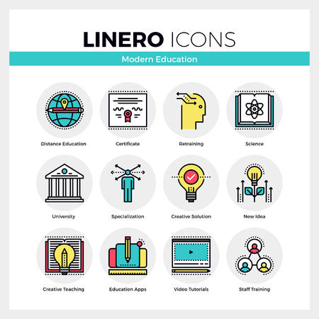 self development: Line icons set of education certificate, skill retraining. Modern color flat design linear pictogram collection. Outline vector concept of mono stroke symbol pack. Premium quality web graphics material. Illustration