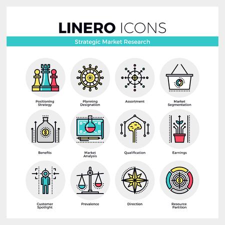 Iconos de comunicación establecidos en la estrategia de investigación de mercado, se centran en los beneficios. de color moderno diseño plano colección pictograma lineal. Esquema del vector del concepto de accidente cerebrovascular mono símbolo paquete. calidad de la materia prima de gráficos para la web. Ilustración de vector