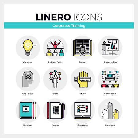 Line iconen set van zakelijke seminar- en business training. Modern kleur plat design lineaire pictogram collectie. Schetsen vector concept van de mono slag symbool verpakking. Premium kwaliteit web graphics materiaal.