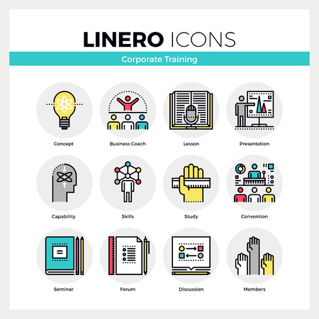 Line icons set of corporate seminar and business training. Modern color flat design linear pictogram collection. Outline vector concept of mono stroke symbol pack. Premium quality web graphics material. 免版税图像 - 56016061