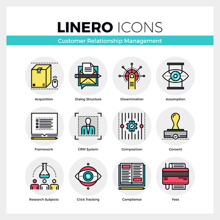 Line icons set of customer relationship management system. Modern color flat design linear pictogram collection. Outline vector concept of mono stroke symbol pack. Premium quality web graphics material. Vettoriali
