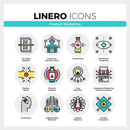 Line icons set of product life cycle, market positioning. Modern color flat design linear pictogram collection. Outline vector concept of mono stroke symbol pack. Premium quality web graphics material.