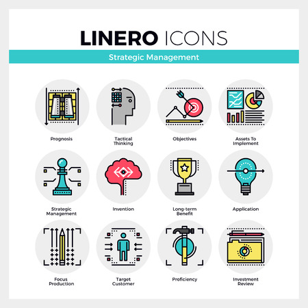 define: Line icons set of strategic management, long-term success. Modern color flat design linear pictogram collection. Outline vector concept of mono stroke symbol pack. Premium quality web graphics material. Illustration