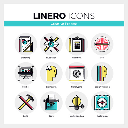 writer: Line icons set of creative studio process, design thinking. Modern color flat design linear pictogram collection. Outline vector concept of mono stroke symbol pack. Premium quality web graphics material.