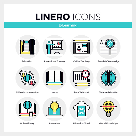 Line icons set of e-learning training, distance education. Modern color flat design linear pictogram collection. Outline vector concept of mono stroke symbol pack. Premium quality web graphics material.