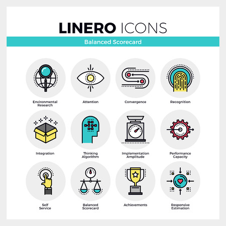 Line icons set of strategic planning and management system. Modern color flat design linear pictogram collection. Outline vector concept of mono stroke symbol pack. Premium quality web graphics material. Stock Illustratie