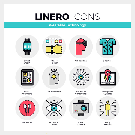 Line icons set of wearable technology, internet of things. Modern color flat design linear pictogram collection. Outline vector concept of mono stroke symbol pack. Premium quality web graphics material.