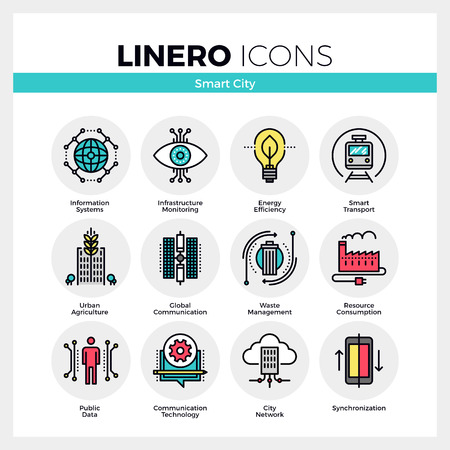 Line icons set of future smart city infrastructure system. Modern color flat design linear pictogram collection. Outline vector concept of mono stroke symbol pack. Premium quality web graphics material. Ilustração