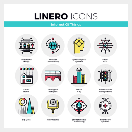Line icons set of internet of things technology infrastructure. Modern color flat design linear pictogram collection. Outline vector concept of mono stroke symbol pack. Premium quality web graphics material. Imagens - 56016180