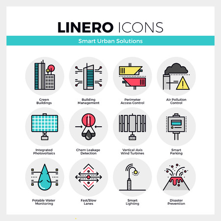 Line icons set of smart urban solution, city technology. Modern color flat design linear pictogram collection. Outline vector concept of mono stroke symbol pack. Premium quality web graphics material.
