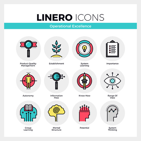 operational: Line icons set of business system operational excellence. Modern color flat design linear pictogram collection. Outline vector concept of mono stroke symbol pack. Premium quality web graphics material. Illustration