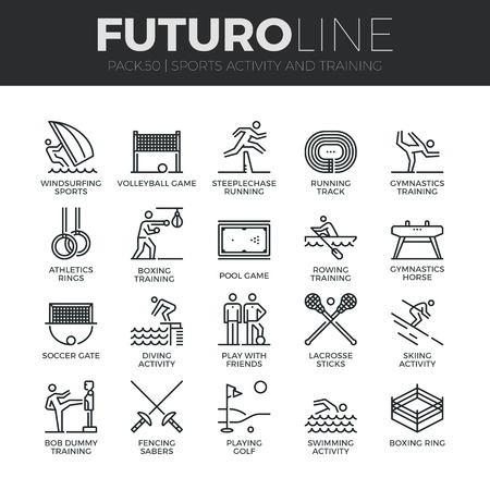Modern thin line icons set of outdoor sports training, various athletic activity. Vettoriali