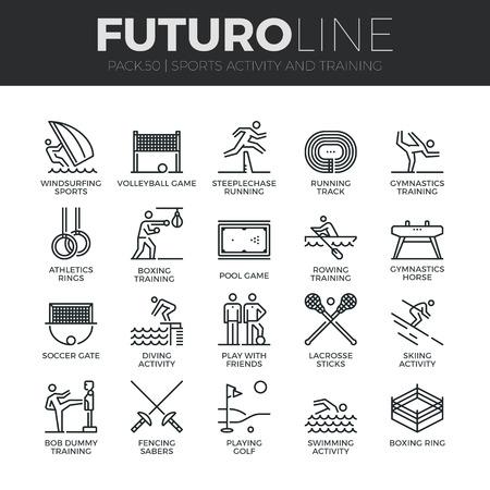 Moderne dunne lijn iconen set van outdoor sporten training, diverse sportieve activiteit. Stock Illustratie