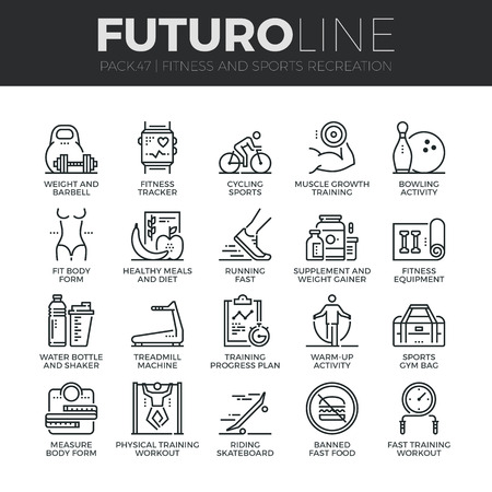 Modern thin line icons set of fitness gym equipment, sports recreation activity.
