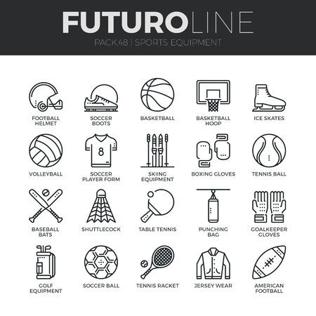 iconos de líneas delgadas modernas conjunto de artículos deportivos y el desgaste, varios tipos de bolas. Ilustración de vector