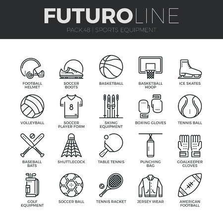 Modern thin line icons set of sports equipment and wear, various type of balls.