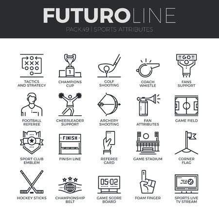 iconos de líneas delgadas modernas conjunto de atributos deportivos, apoyo de los aficionados, emblema del club.