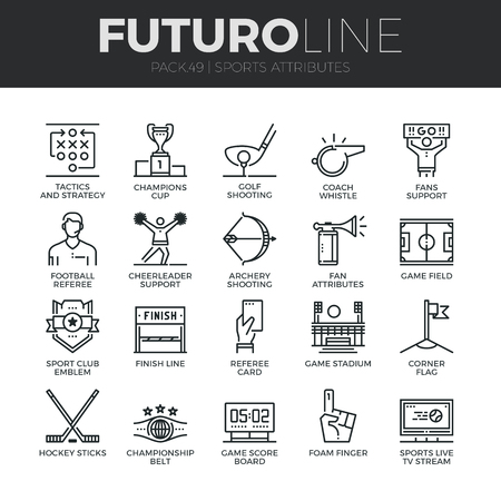 Modern thin line icons set of sports attributes, fans support, club emblem.