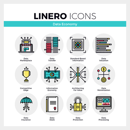 valuation: Line icons set of business data economy, information value. Modern color flat design linear pictogram collection.
