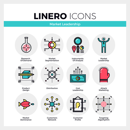 dominance: Line icons set of market leader instruments and key factors. Modern color flat design linear pictogram collection. Illustration