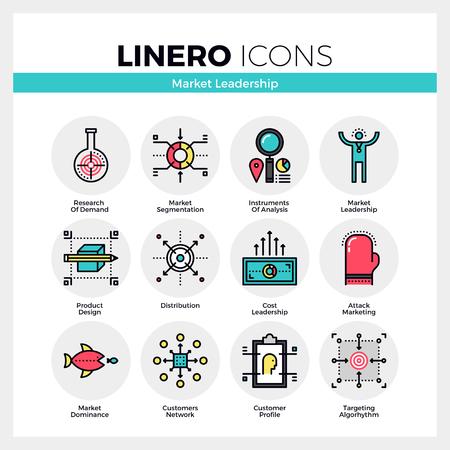factors: Line icons set of market leader instruments and key factors. Modern color flat design linear pictogram collection. Illustration