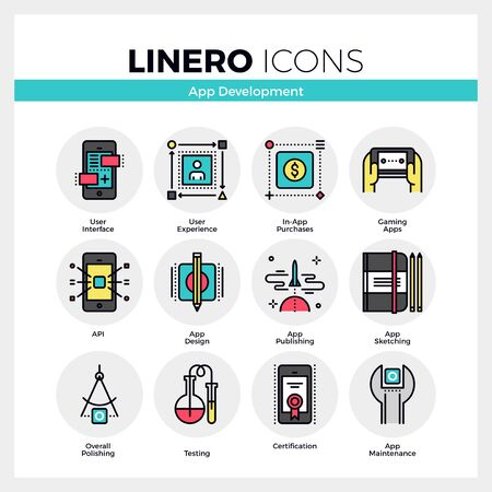handheld device: Line icons set of mobile application development process. Modern color flat design linear pictogram collection. .