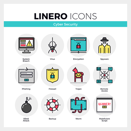 ddos: Line icons set of internet viruses, computer cyber security. Modern color flat design linear pictogram collection. Illustration