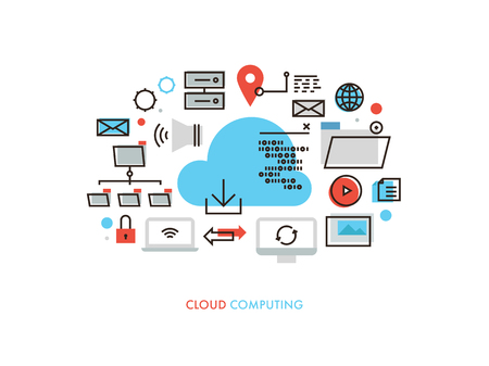 syncing: Thin line flat design of cloud computing datum architecture, internet network security connection for worldwide business multimedia