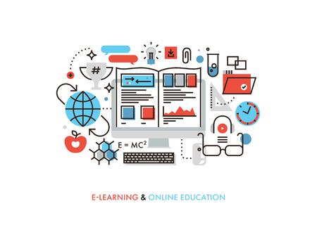 Dunne lijn platte ontwerp van internet tutorial voor eigen onderwijs, omscholing Vector Illustratie
