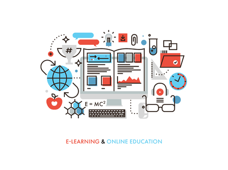 Thin line flat design of internet tutorial for self education, professional retraining