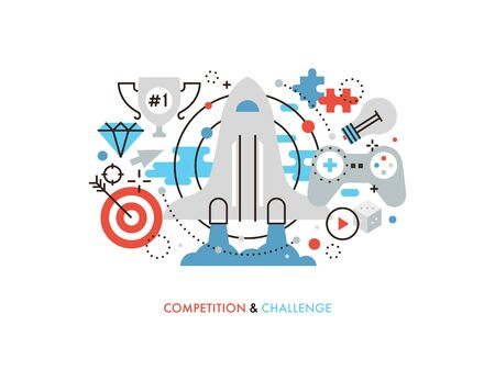 new opportunity: Thin line flat design of new challenge opportunity, business competition achievement