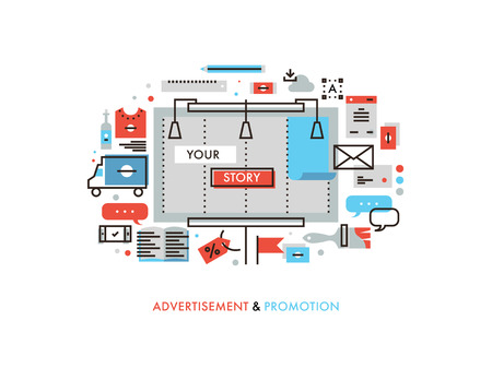 ligne design plat mince de panneau de promotion de l'histoire de la publicité, des matériaux promotionnels graphiques