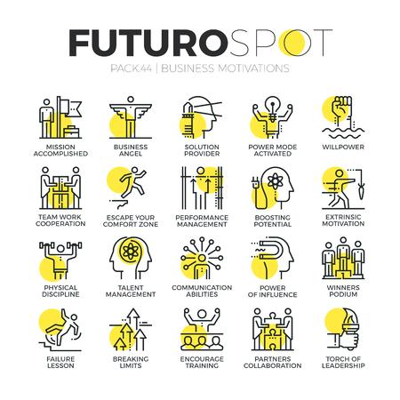 Ikony linii obrysu zestaw motywów gospodarczych, dyscypliny i umiejętności lidera. Nowoczesne płaskie liniowe koncepcje piktogramów. Ilustracje wektorowe