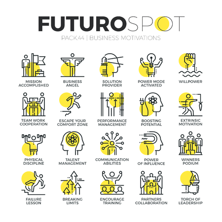 Stroke line icons set of business motivations, discipline and leader skills. Modern flat linear pictogram concepts.