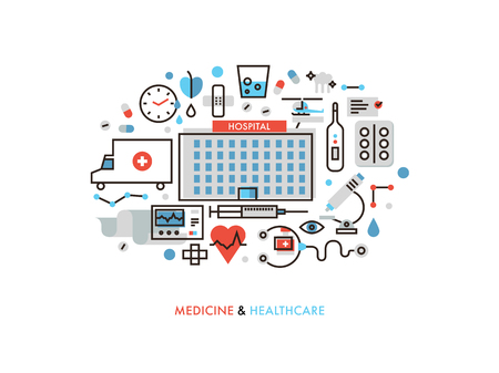 Thin line flat design of city medicine services, hospital building with medical Vettoriali