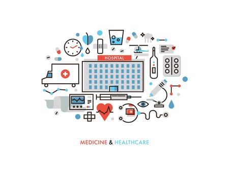 Thin line flat design of city medicine services, hospital building with medical Illustration