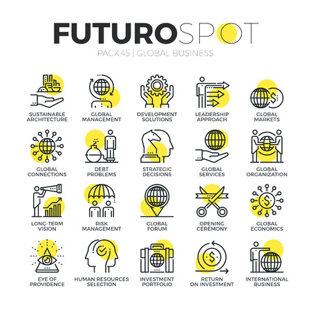 icônes de la ligne de course ensemble d'organisation et le fonctionnement de l'entreprise dans le monde entier. Concept moderne pictogramme linéaire plat