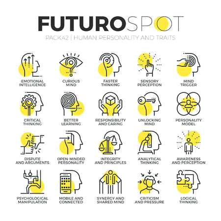 Stroke line icons set of human personality traits, mind psychology skills. Modern flat linear pictogram concept. Premium quality outline symbol collection. Simple vector material design of web graphics. Vectores
