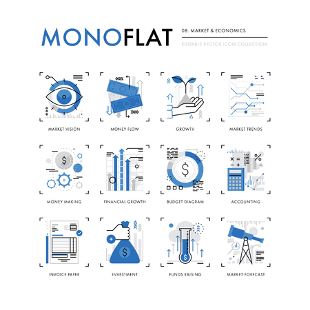 Infographics icons collection of global market economics, funds raising and financial trends. Modern thin line icons set. Premium quality illustration concept. Flat design web graphics elements.