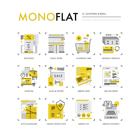 Infographics icons collection of shopping online, shipping goods, market gifts and bonuses. Modern thin line icons set. Premium quality illustration concept. Flat design web graphics elements. Vettoriali