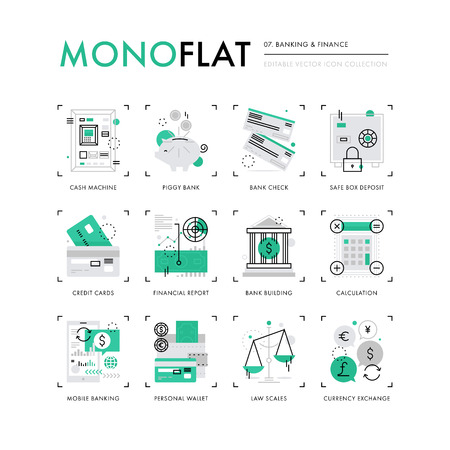 Infographics icons collection of mobile banking, personal finance, money and credit cards. Modern thin line icons set. Premium quality illustration concept. Flat design web graphics elements. Vettoriali