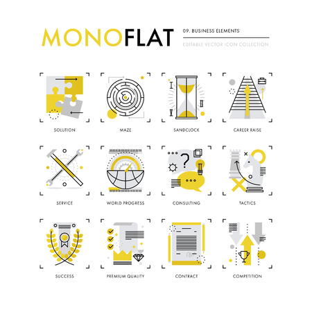 Infographics icons collection of business concepts, solution finding, market strategy tactics. Modern thin line icons set. Premium quality illustration concept. Flat design web graphics elements. Vetores