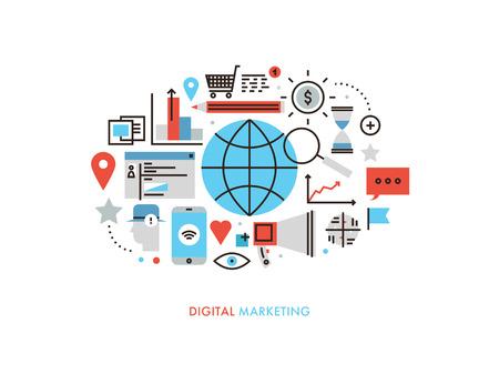 diseño plano delgada línea de los servicios mundiales de tecnología de marketing digital, nuevo análisis de las tendencias del mercado, la planificación de optimización de búsqueda. ilustración concepto moderno, aislado sobre fondo blanco.