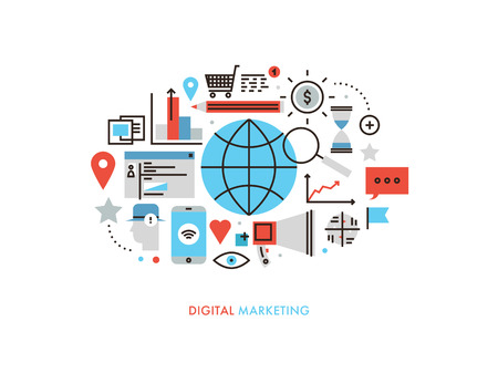 Thin line flat design of worldwide services of digital marketing technology, new market trends analysis, search optimization planning. Modern illustration concept, isolated on white background. Stock Illustratie