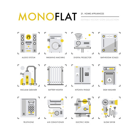 Infographics icons collection of household appliances, house equipment, kitchen appliances. Modern thin line icons set. Premium quality vector illustration concept. Flat design web graphics elements. Illustration