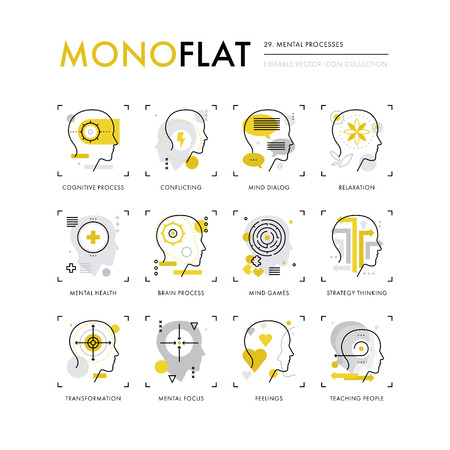 Infographics icons collection of mental processes, mind operation of thinking, brain health. Modern thin line icons set. Premium quality vector illustration concept. Flat design web graphics elements.
