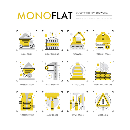 foreman: Infographics icons collection of construction site safety, crane building, foreman equipment. Modern thin line icons set. Premium quality vector illustration concept. Flat design web graphics elements.