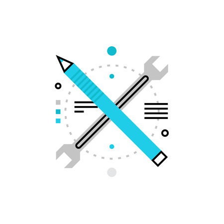 Modern vector icon of development tools, architecture and engineering instruments. Premium quality vector illustration concept. Flat line icon symbol. Flat design image isolated on white background. Vettoriali