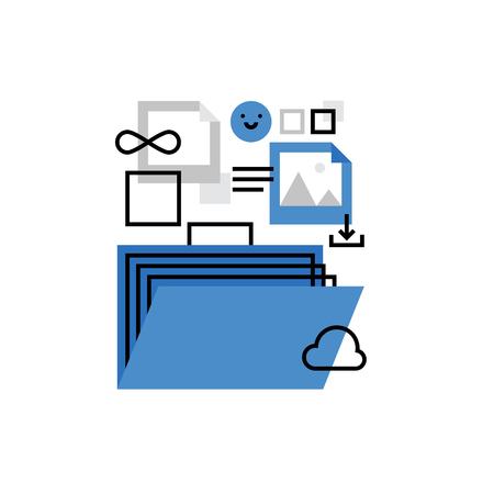 multimedia background: Modern vector icon of portfolio presentation, showreel case, multimedia files. Premium quality vector illustration concept. Flat line icon symbol. Flat design image isolated on white background.